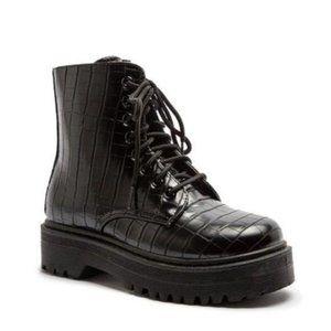 Croc Embossed Combat Boots in Black